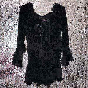 HaleBob Mesh velvet blouse